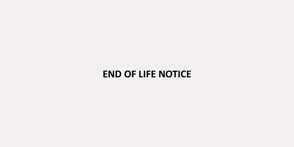 End of life (EOL) notice banner