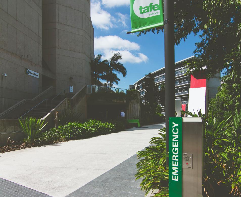 emergency help point bollard, TAFE Brisbane